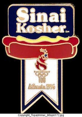 OLYMPIC PINS 1996 ATLANTA SINAI KOSHER HOT DOGS SPONSOR