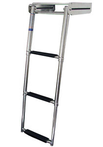 3 Step Stainless Steel Telescoping Under Platform Marine Boat Boarding Ladder