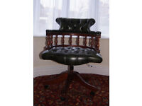 Green leather Capther Chair