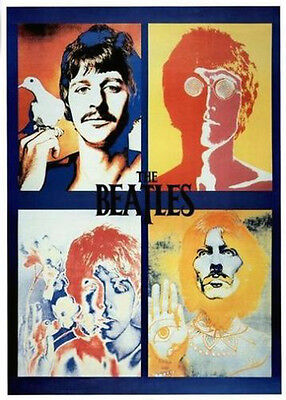 """The Beatles Four Faces Psychedelic Poster 24"""" x 36"""" Free US Shipping"""