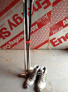 skis, boots, poles,