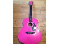 Pink Acoustic Westfield Guitar