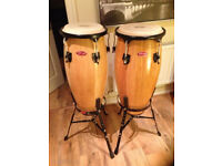 Stagg 10inch & 11inch Congas with Stands and Canvas Carry Cases.