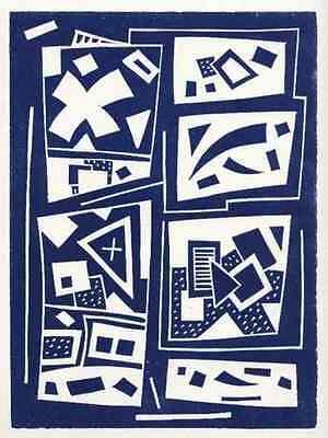 Otto NEBEL  - OriginalLinolschnitt  1957 KOMPOSITION  WVZ D 281