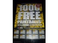 20 paintball tickets and 2000 free paintball bullets.