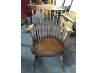 Vintage COUNTRY hand made Old Colonial Solid Elm & Beech . VINTAGE CHAIRMAKERS ROCKING CHAIR
