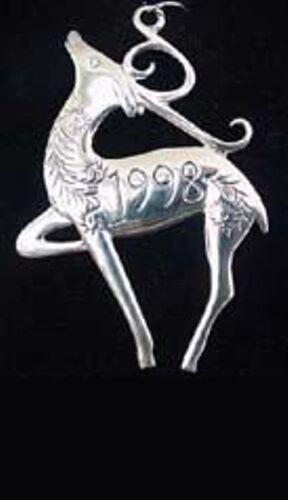 Prancer Reindeer dated 1998 Sterling Christmas Ornament Hand & Hammer