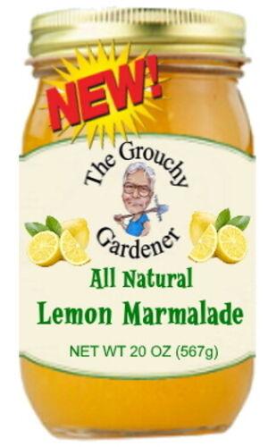 GROUCHY GARDENER  LEMON MARMALADE   1 LARGE 20 Oz. Jar, All Natural Jam
