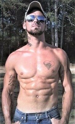 Redneck Facial Hair (Shirtless Male Muscular Hunk Facial Hair Tattoos Red Neck Dude PHOTO 4X6)