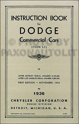 1936 Dodge half ton Truck Owner Manual Pickup Panel Screenside Canopy Suburban