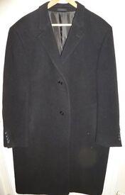 Calvin Klein Mens Black Wool Overcoat