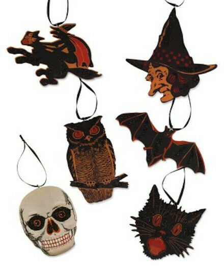 Bethany Lowe Vintage Image Halloween Ornaments Set of 6 Cat Witch Bat Skull Owl