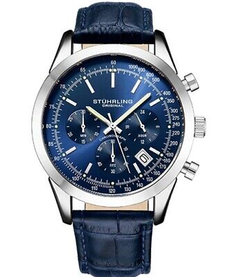 Stuhrling Original Mens Watches Chronograph Analog Blue Watch Dial