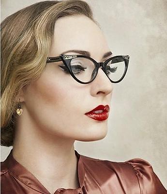 Retro Vintage Cat Eye Frames Sexy PinUp Gold Crystals Demi Women Eyeglasses (Vintage Cat Eyeglass Frames)