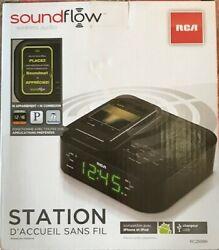 RCA RC250BK Dual Alarm Clock FM Radio Soundflow Wireless Technology USB Charger