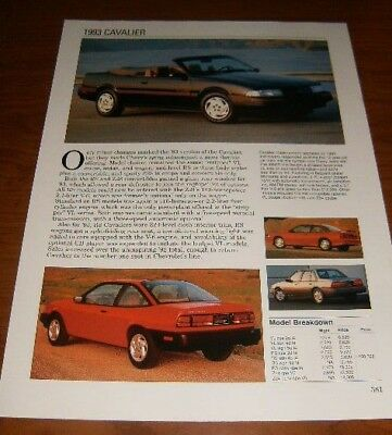 ★★1993 CHEVY CAVALIER SPEC SHEET INFO PHOTO 93 Z24 RS VL CONVERTIBLE★★