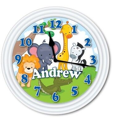 Jungle Zoo Animals PERSONALIZED Wall Clock Child Bedroom Baby Nursery GREAT (Baby Nursery Wall Clock)