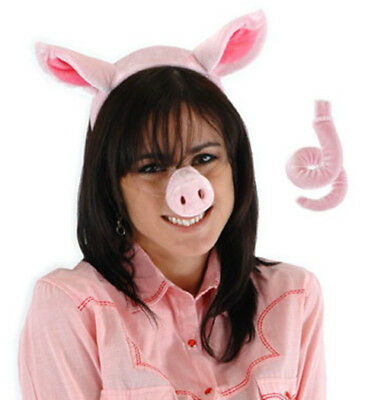 Pig Kit Plush Ears Nose and Tail Cosplay Halloween Costume Accessory NEW UNUSED (Halloween Pig Ears)