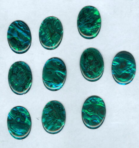 Lot Of 10 ~ Blue Green Paua Shell 22x30 Oval Cabochons ~ 83 Carats ~ 30mm x 22mm