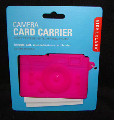 Kikkerland Camera Pink Silicone Business Name Card Case Carrier Flexible New