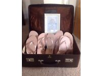 Wedding suitcase and flip flops vintage style with sign