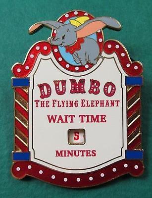 Disney Pin HKDL Dumbo the Flying Elephant Wait Time Sign Spinner LE 300