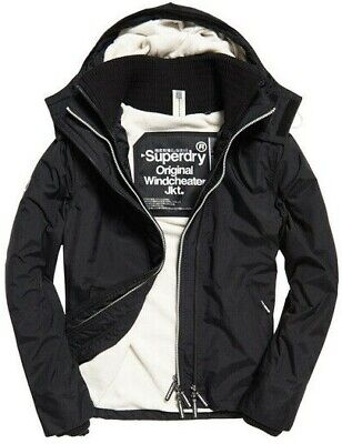 NWT - SUPERDRY Men's 'POP' Black/Ecru ZIP HOODED ARCTIC WINDCHEATER JACKET - M