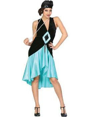 Puttin' on the Ritz 20's Flapper Black Teal Blue Dress Halloween Adult - Puttin On The Ritz Halloween Costume