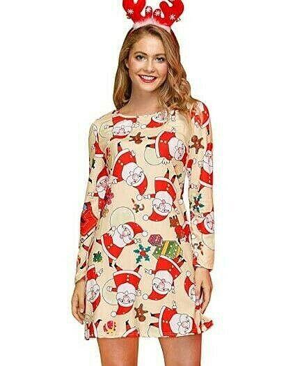 Women's Christmas Pajamas Pj's Pajama Beige Santa Very Soft Comfortable Clothing, Shoes & Accessories