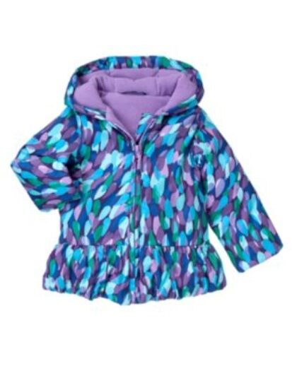 GYMBOREE WINTER PEACOCK FEATHER PRINTED HOODED PUFFER JACKET 6 12 24 2 3 4 5 NWT