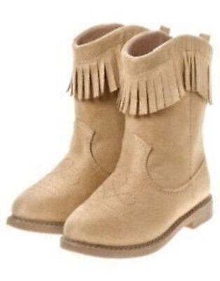 GYMBOREE MALIBU COWGIRLTAN SUEDE FRINGE COWGIRL BOOTS 03 04 5 6 7 8 NWT