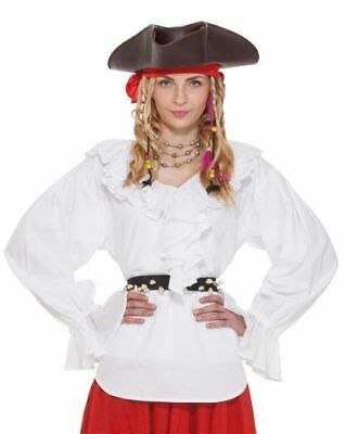 Pirate Blouse Ladies White V-Neck Ruffled Front White Cotton Costume Blouse