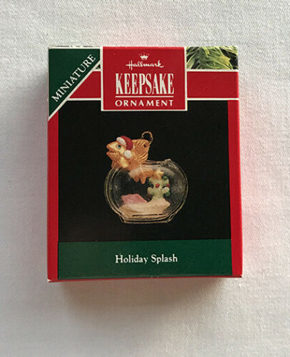 1992 Holiday Splash ~ Fish, Aquarium, Santa Hat ~ Hallmark Miniature Ornament
