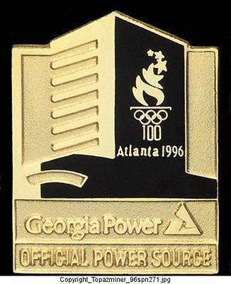Olympic Pins 1996 Atlanta Georgia Power Sponsor Official Power Source