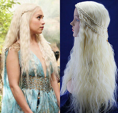 Dany Targaryen Kostüme (Game of Thrones Daenerys Targaryen Dany Cosplay Perücke Wig Kostüm Locken Blond)