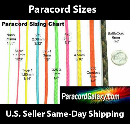 550 Paracord Most Popular Colors 10 Foot Lengths USA Made sa