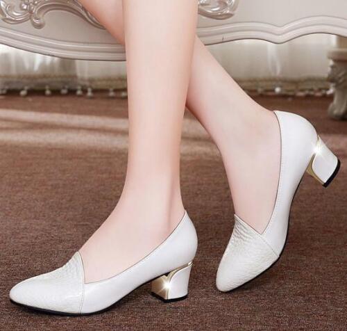 Womens ladies chunky Heel Slip-on Formal Low top casual offi