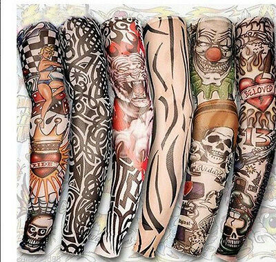 Lot 6 Pcs Temporary Party Realistic Fake Slip On Tattoo Arm Covers Sleeves Kit on Rummage