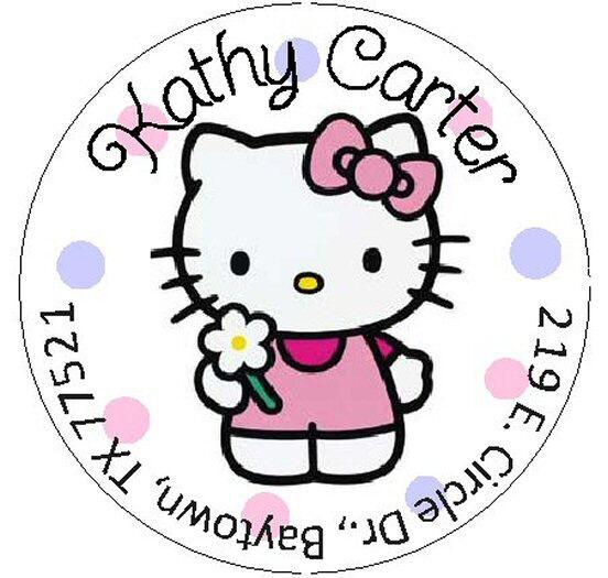 ~HELLO KITTY with FLOWER~ Round Return Address Labels