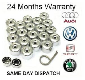 VW 17mm Chrome Alloy Wheel Locking Nut Caps Bolt Covers Golf Polo Passat Sharan