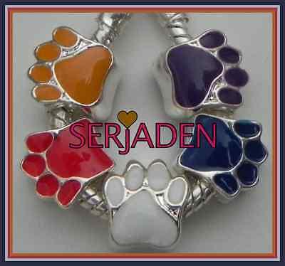 5 Dog Paw Charms Red Blue Purple White Orange European 11 * 12 & 5 mm Hole S024