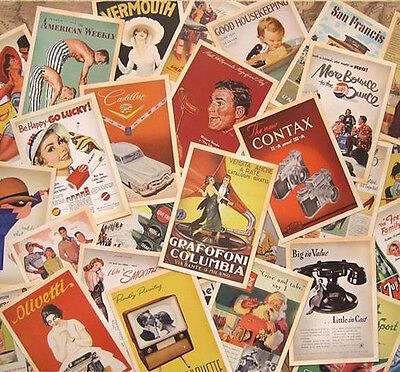 Retro Vintage Postcards 1950's Advertising Bulk Lot 32 PCS Cards Set Posters Art