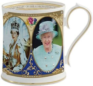 AYNSLEY 60th ANNIVERSARY CORONATION QUEEN ELIZABETH II MUG/TANKARD - BNIB
