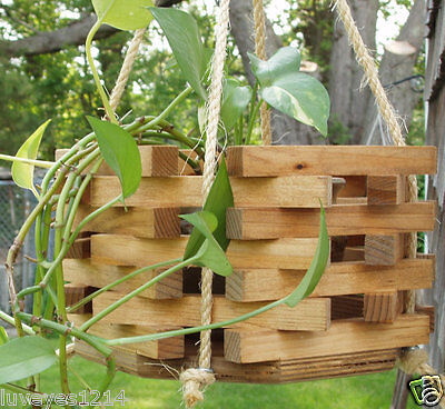Planter Stained (Stained Hexagon Octagon wood wooden bucket hanging planter plant Indoor/Outdoor )