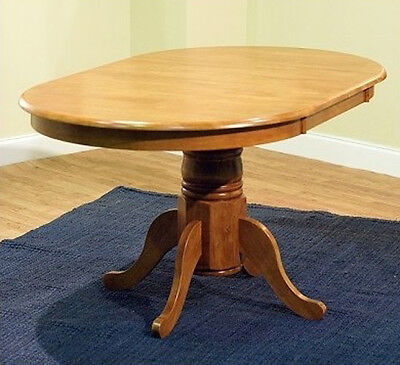 Leaf Oval Dining Table (Round Oval Dining Room Table w/ Leaf Oak Country Farmhouse Pedestal Kitchen Wood )