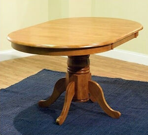 Round Oval Dining Room Table W Leaf Oak Country Farmhouse Pedestal
