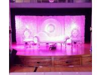Asian Wedding Stages from £250, Floral Stages, Mehndi Stages, Chair covers & House lighting for Hire