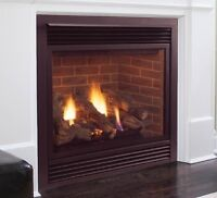 Gas fireplace insert-great for family room