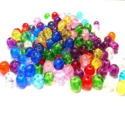 200 Crackle Glass Beads 6mm Mixed Colours Jewellery Making Crafts J04930