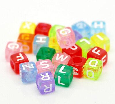 Acryl Perlen Buchstaben A-Z Mehrfarbig zum Basteln 6x6mm (Würfel Zum Verkauf)